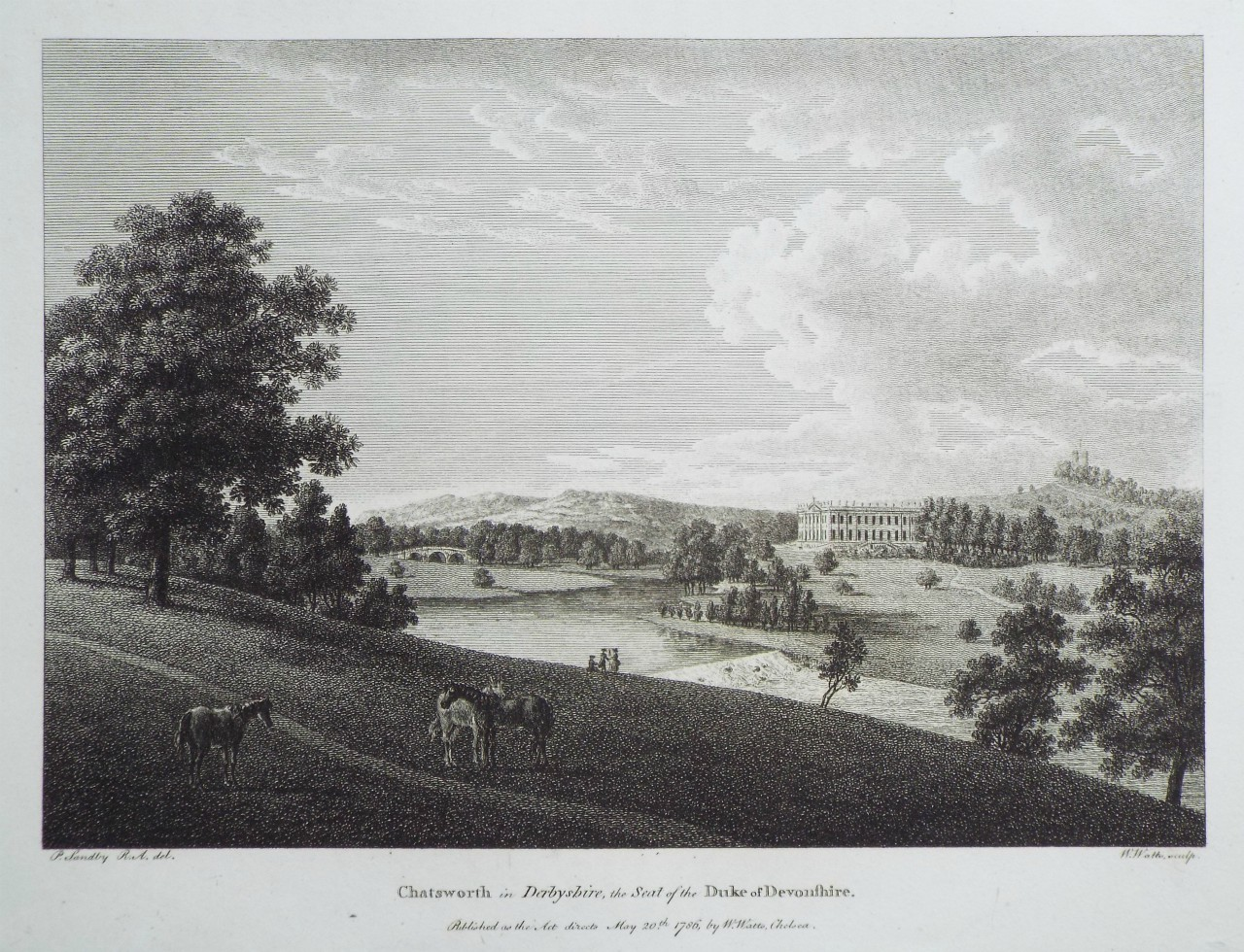Print - Chatsworth in Derbyshire, the Seat of the Duke of Devonshire. - Watts
