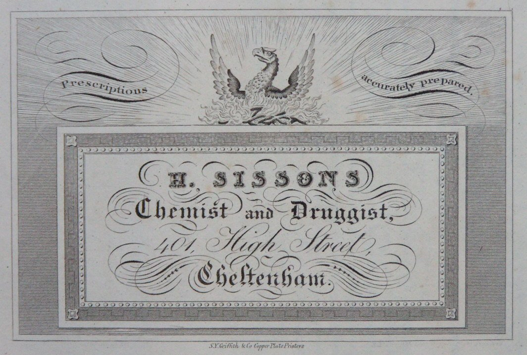 Print - H. Sissons Chemist and Druggist 401 High Street Cheltenham