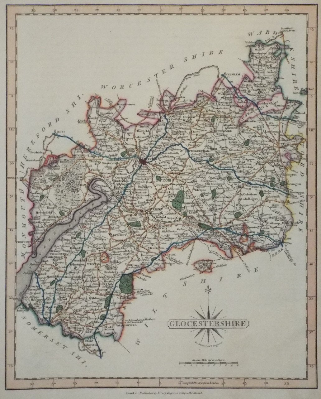 Map of Gloucestershire - Cary