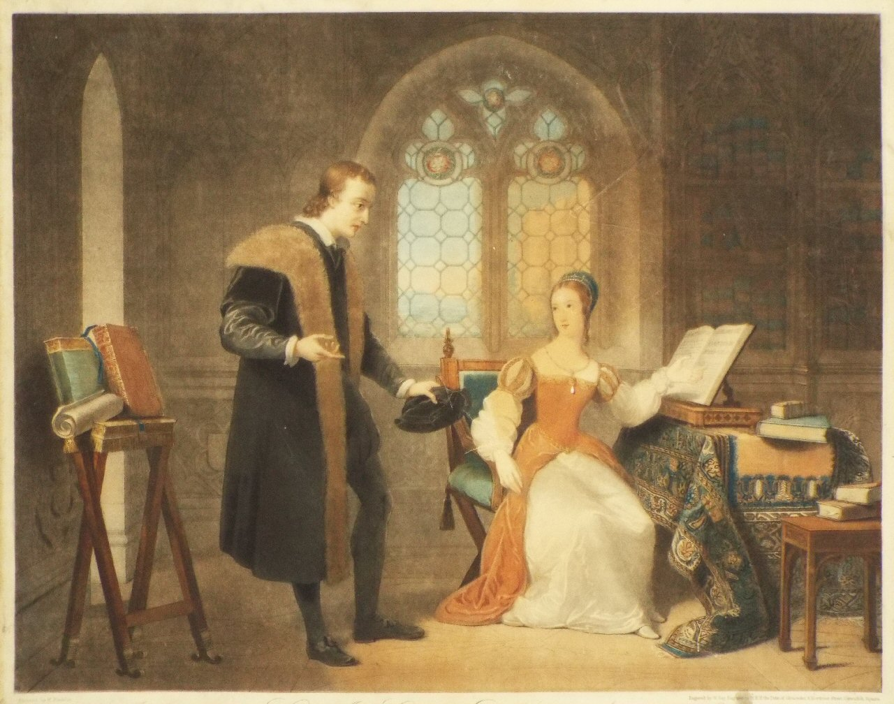 Mezzotint - Interview between Lady Jane Grey and Dr Roger Ascham in the Year 1550. - Say