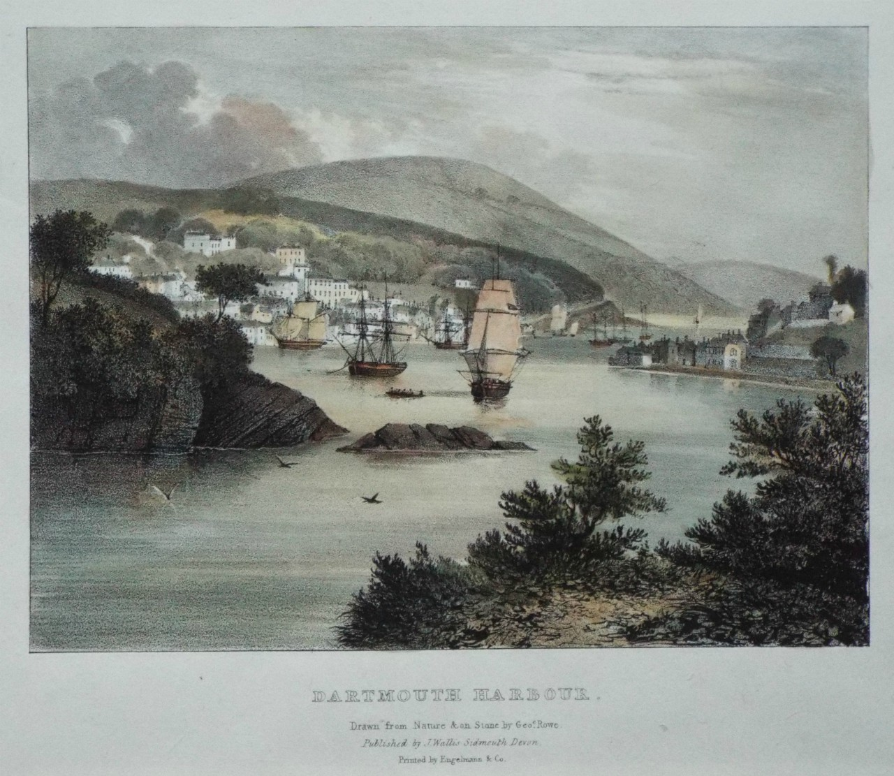 Lithograph - Dartmouth Harbour. - Rowe