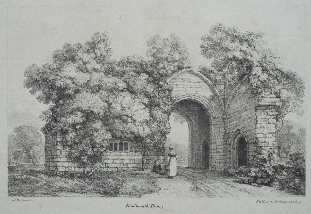 Lithograph - Kenilworth Priory. - Finch