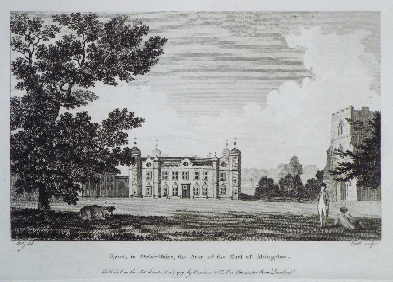 Print - Rycot, in Oxfordshire, the Seat of the Earl of Abingdon. -