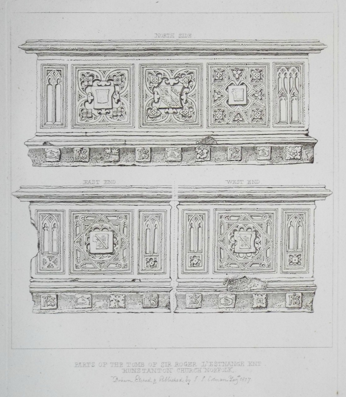 Etching - Parts of the Tomb of Sir Roger L'Estrange Knt Hunstanton Church Norfolk - Cotman