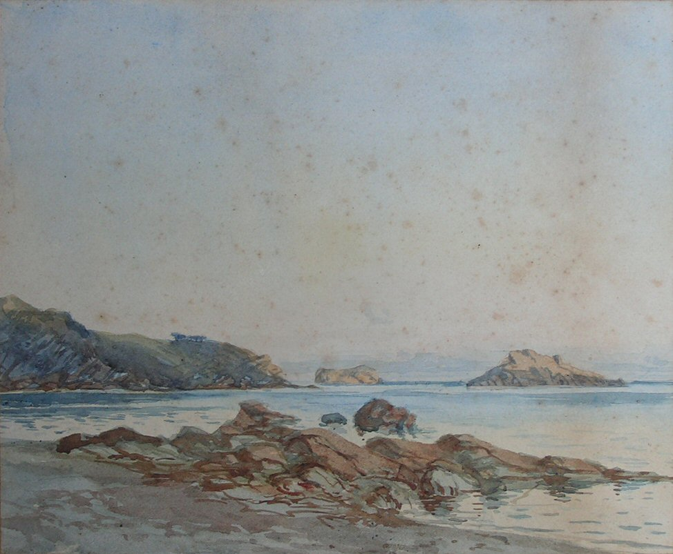 Watercolour - (Sea and rocky beach)