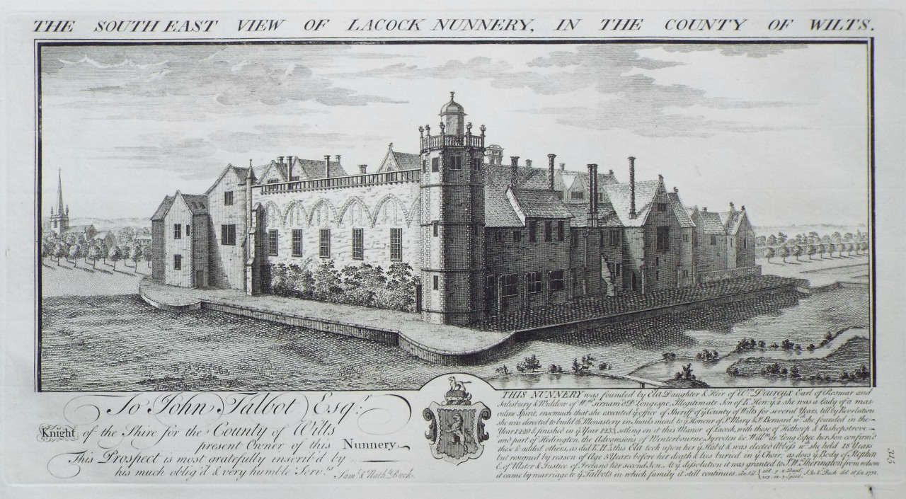 Print - The South East View of Lacock Nunnery, in the County of Wilts. - Buck