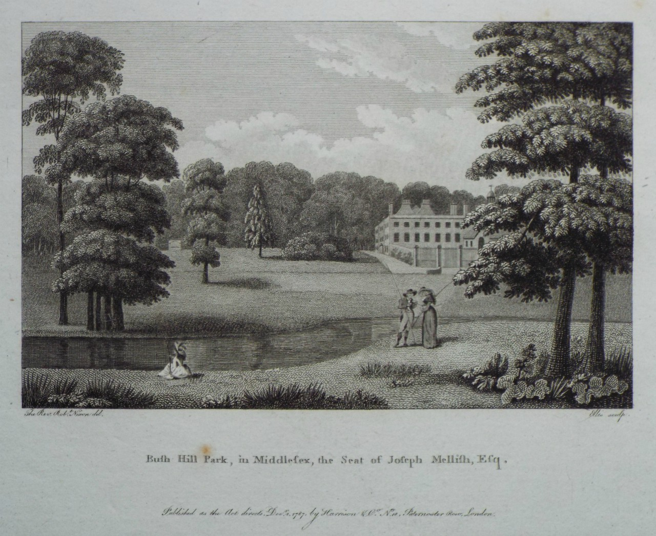 Print - Bush Hill Park, in Middlesex, the Seat of Joseph Mellish, Esqr. -