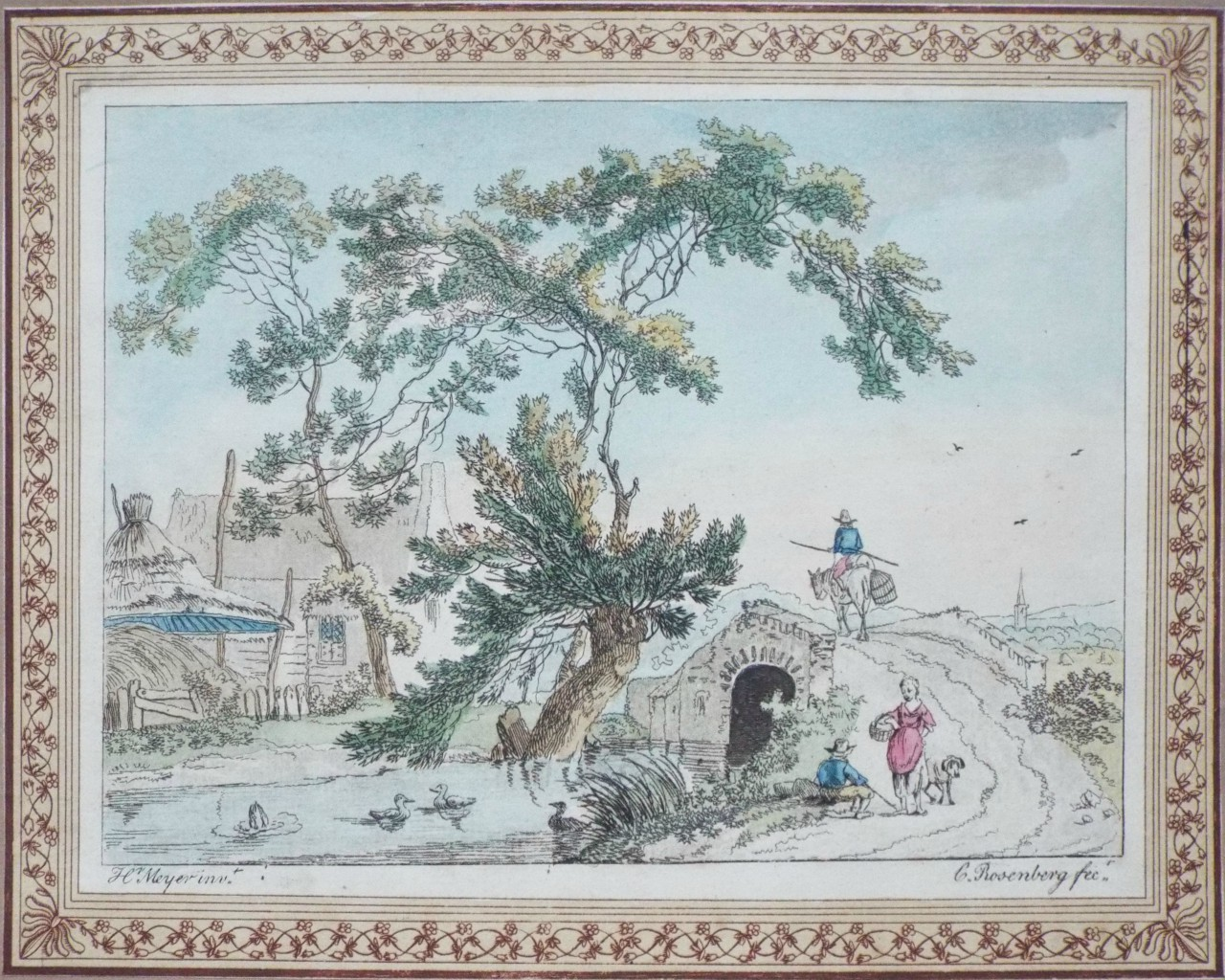 Etching - (Village scene) -