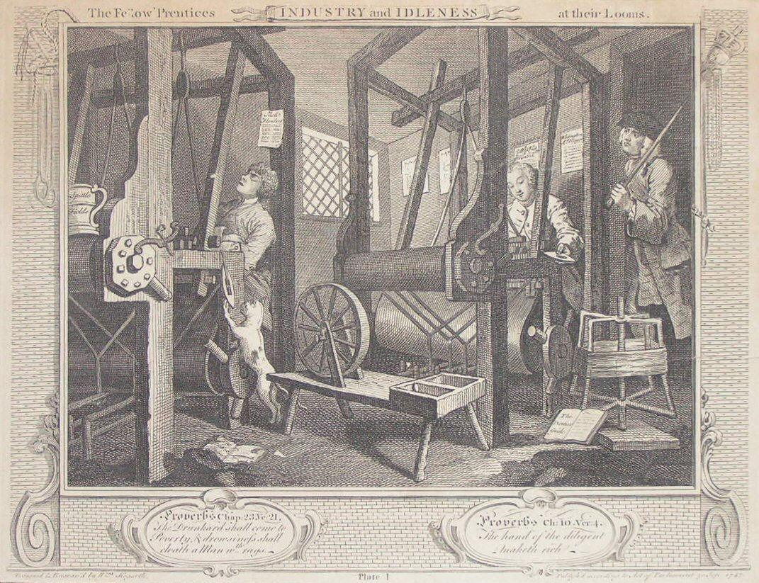 Print - 1. The Fellow 'Prentices at their Looms - Hogarth