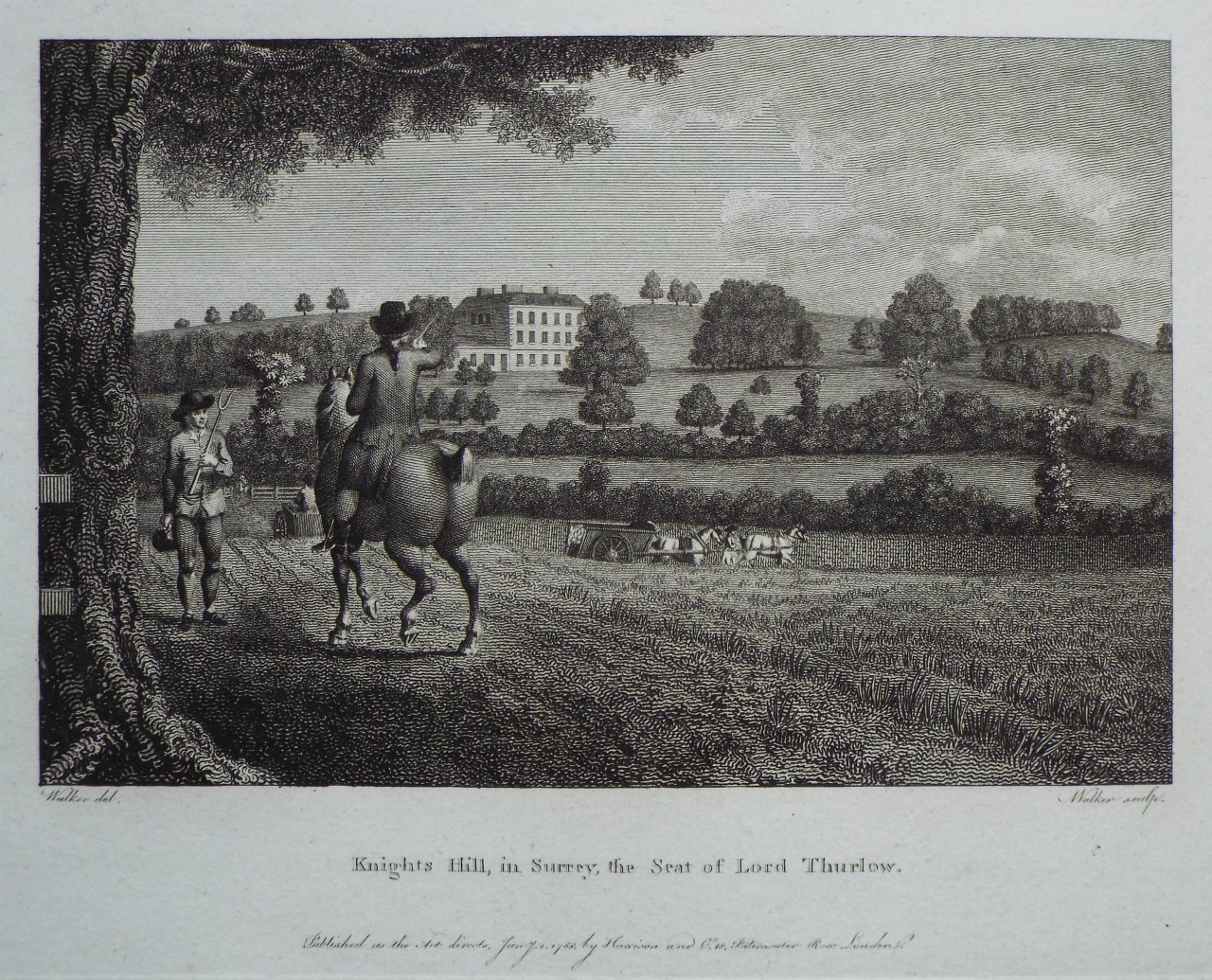 Print - Knight's Hill, in Surrey, the Seat of Lord Thurlow. -