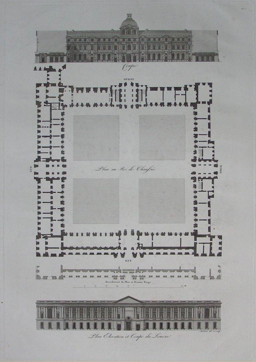 Elevation Plan Coupe : Antique print plan elevation et coupe du louvre